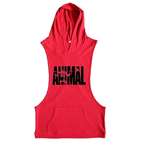 Hooded Top Animal - Cabeen Men's Animal Bodybuilding Sleeveless Hoodie Tank Tops Shirt Hooded Vest Train Wear