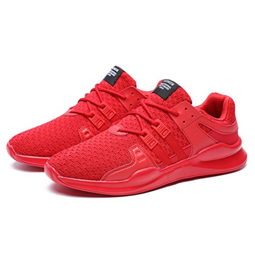 Hatop Mens Running Shoes Breathable Gym Shoes Leisure Lace-up Sport Shoes Red j7NzVH2
