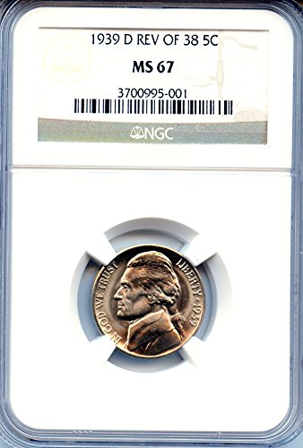1939-D GEM BU Jefferson nickel graded by NGC MS67 REV of 1938. KEY DATE