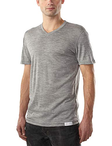 Woolly Clothing Men's Merino Wool V-Neck Tee Shirt - Ultralight - Wicking Breathable Anti-Odor XL Gry Grey (Wool Over Mens Vests)
