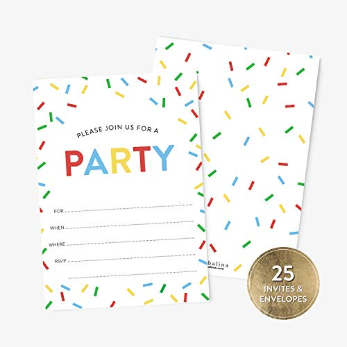 - 25 Birthday Party Invitations and Envelopes for Boys or Girls, Festive Confetti Party Invitations, Fill-in Style Birthday Invitations, Blank Birthday Invitations