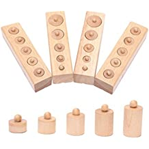 Pixnor Montessori Wooden Cylinder Socket Family Pack Early Learning Education Toy
