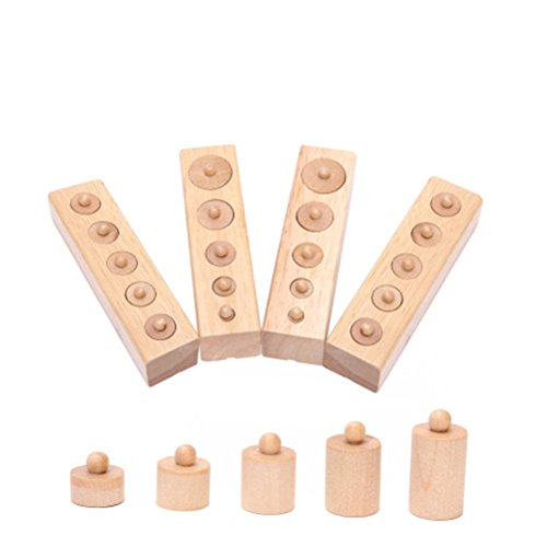 Pixnor Montessori Wooden Cylinder Socket Family Pack Early Learning Education (Cylinder Toy)