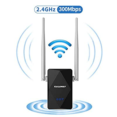 GALAWAY G308 300Mbps WiFi Range Extender with External Antennas 2.4Ghz Network Signal Booster Compatible with Standard IEEE802.11b/g/n Support WEP/WPA/WPA2 Encryption (Black)