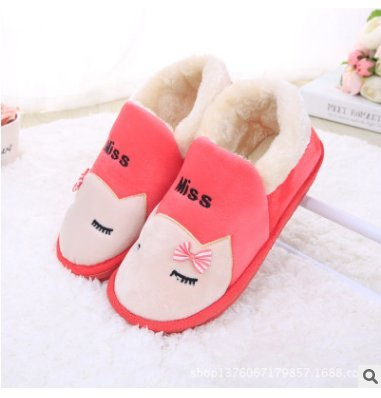 Cotone fankou pantofole pacchetto inverno con uomini e donne matura anti-slittamento torna spessa arredamento grazioso pattino caldo ,42-43, cocomero rosso