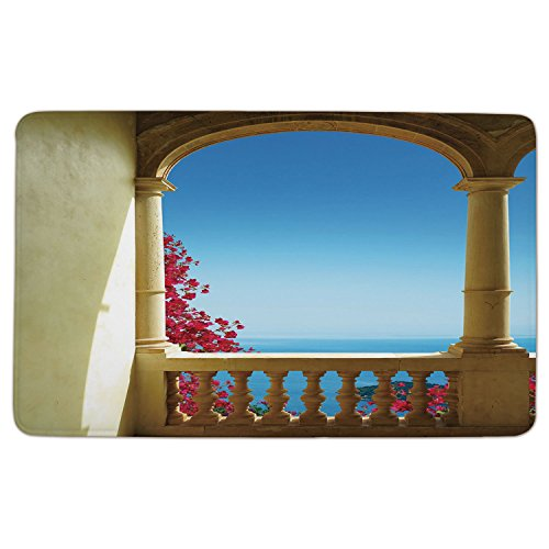 Cheap  Flannel Microfiber Doormat Mat Rug Carpet,Patio-Decor,Ancient-Balcony-with-View-to-Mediterranean-Sea-Bougainvillea-Majorca,Sand-Brown-Pink-Blue.jpg,Non-slip Rubber Backing Soft Absorbent,for Indoor/Ou