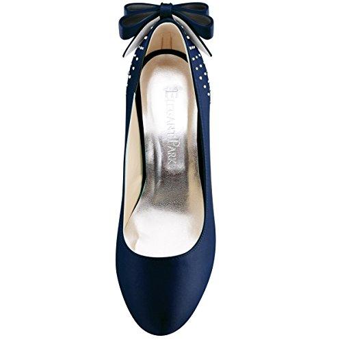 Elegantpark De Mariee Soiree Marine Plateau Femme ip Mariage Escarpins Diamant Noeud Ep11034 Blue Aiguille Chaussures Satin PRrvPwf4q