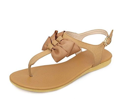 Womens Buckle Sandals Strap Thong CHFSO T Flip Flops Korean Beige CSSqH