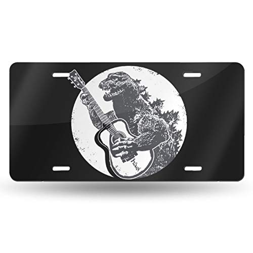 Mr.ChenFang Designs Dinosaur Playing Guitar Acoustic Elecrtic Guitarist Led Vintage 80s Jam Band Rock Poster Bass Graphic Design Novelty Vanity License Plates Tag Sign 6 Inch X 12 Inch