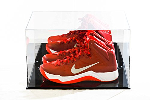 Deluxe Acrylic Basketball Shoe Display Case with Black Acrylic Base and Mirror (A025-DS) (Case Case Football Double)