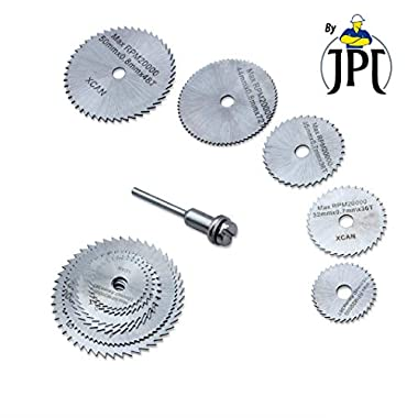 "JPT 5pc 1/8"" Shank High Speed Steel HSS Saw Disc Wheel Cutting Blades with Mandrels for Dremel Fordom Drills Rotary Tools 7"