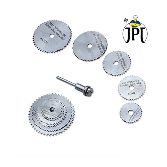 "JPT 5pc 1/8"" Shank High Speed Steel HSS Saw Disc Wheel Cutting Blades with Mandrels for Dremel Fordom Drills Rotary Tools 1"