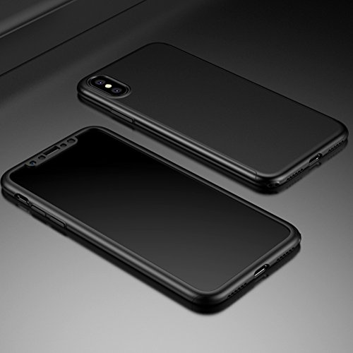 Apple iPhone X Case, DEMEDO (Defense 360°Series) 2-Pieces Protective Cover for iPhone X, Full Coverage Protection, Four Colors are Optional - Black