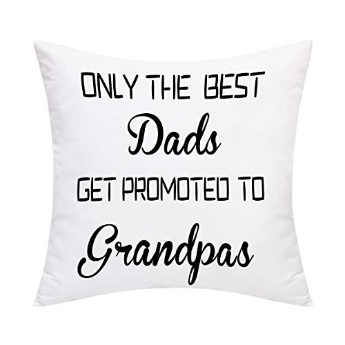 BLEUM CADE Father's Day Throw Pillow Cover The Best Dads Get Promoted to Grandpas Pillow Covers for Dad Grandpa Sofa Couch Chair Office Car