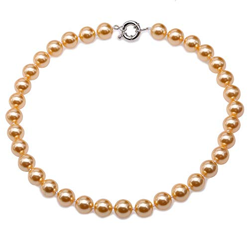 JYX Pearl 12mm Genuine Golden South Sea Shell Pearl Round Beads Necklace - South Golden Round Sea Pearl