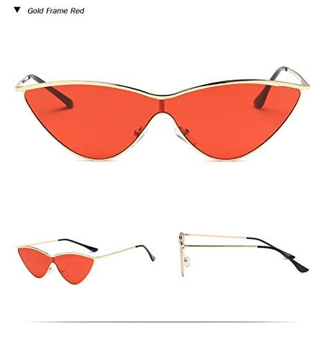 rojo Damas marca de Vintage Bastidor gafas Diseñador de pieza ojo Retro Rojo de gato Oro de sol de de negro rosa una color mujer de gafas Espejo Gafas sol 0w7BxZn0