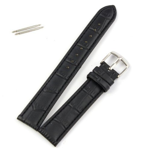 Kanhan 18~22mm Leather Strap Watch Band Steel Buckle Wrist Soft (Black, Lug Width: 18mm)