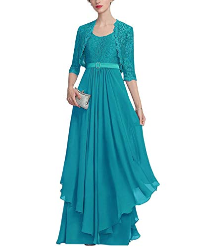 PearlBridal Women's Half Sleeve Lace 2 Pieces Mother of The Bride Dresses with Jacket Ruffles Chiffon Long Evening Gown Jade Size 16