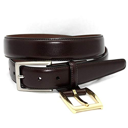 (Torino Leather Glazed Kipskin Double Buckle Option Dress Belt - Brown 42)