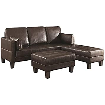 BOWERY HILL 3 Piece Convertible Sofa and Ottoman Set in Brown