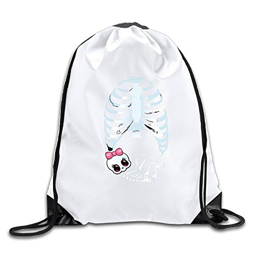 [Runy Custom Baby Girl Skeleton Pregnant Adjustable String Gym Backpack Travel Bag White] (Funny Bones Skeleton Costume)