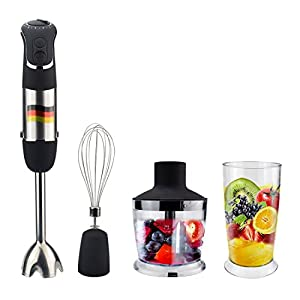 AZFUNN Multi-Function Immersion Hand Blender, Powerful 850w 6 Speed Hand Stick Blender with 500ml Food Processor, 600ml Beaker & Whisk Attachments for Kitchen Food Processing
