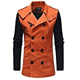 iLXHD Men's Fashion Color Block Double Breasted Windbreaker...