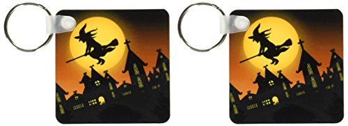 3dRose Spooky Halloween Town with Flying Witch Key Chains, Set of 2 (kc_172236_1)