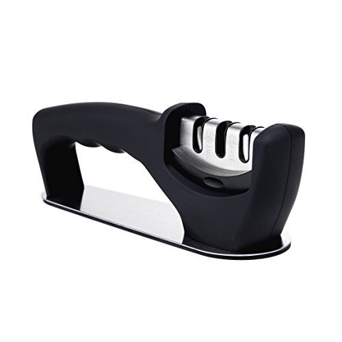 Finnhomy Professional Knife Sharpener for Straight,3 Stage Tungsten, Diamond,Ceramic Sharpening Slot,Manual with Non-slip Bottom Cushion for Pocket,Kitchen Knife,Black