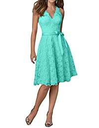 H.S.D Women's Sexy V Neck Lace Prom Dress Evening Gown with Bowknot Sash
