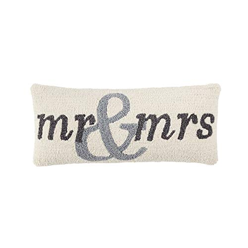 Mud Pie Mrs Wedding Hook Wool Accent Lumbar Pillow Decorative Pillow White, Grey -