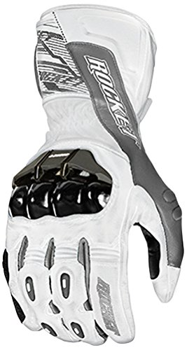 Joe Rocket 1440-2704 Flexium TX Men's Leather Motorcycle Racing Gloves (White/Gun Metal, Large)