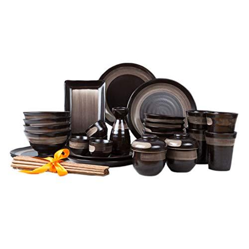 ZHAO YING Black Tableware Bowl Dish Suit Retro Manual Ceramics Underglaze Color Process Job Plate Household (Color : Black)