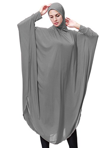 GladThink Womens Muslim Bat's-wing-sleeves Dress Hijab Two in One GRAY M