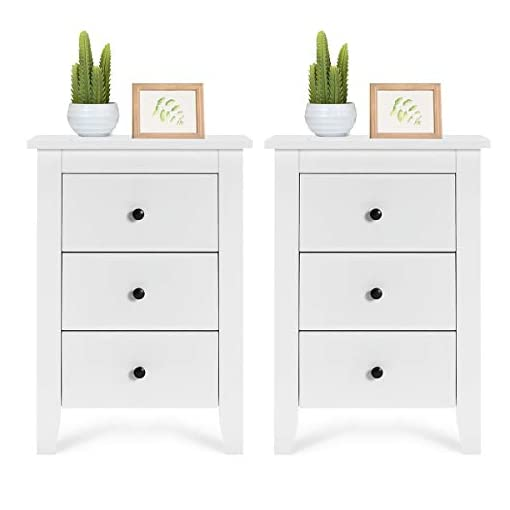 Bedroom Giantex Nightstand W/ 3 Drawers Large Storage Space, Solid Structure and Stable Frame, Elegant Appearance, Suitable for… farmhouse nightstands