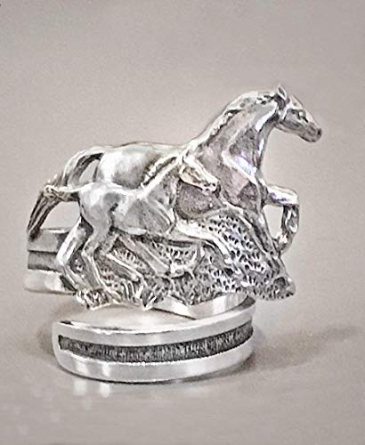 Horse Lady Gifts Mare & Foal Napin Ring set of 4 in Pewter