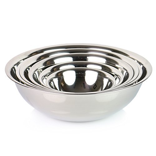 Favor (Set of 6) SafePro Mixing Bowls Standard Weight Stainless Steel, Mirror Finish, 3/4, 11/2, 3, 4, 5, and 8 Qt dispense