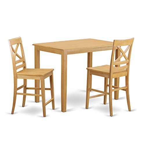 East West Furniture YAQU3-OAK-W 3 Piece Small Kitchen Table and 2 Bar Stools with Backs Set - 2 Piece Oak Desk