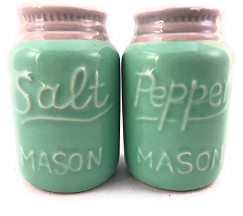 Rustic Ceramic Mason Jar Salt and Pepper Shaker Set - Vintage Style Green - Retro Antique Farmhouse Decor - Nostalgic Country Ranch Home Kitchen Decoration for Coffee Shop Cafe Cabin Diner Shabby Chic by Rustic Paradise