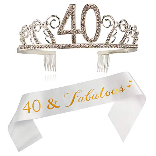 (40th Birthday Sash and Tiara- 40 & Fabulous Gold Satin Sash and Crystal Tiara Birthday Crown for 40th Birthday Party Supplies and Decorations/W)