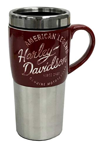 Harley-Davidson Heritage Ceramic Stainless Steel Travel Cup, Silver & Burgundy (Richmond Va Flags Decorative)