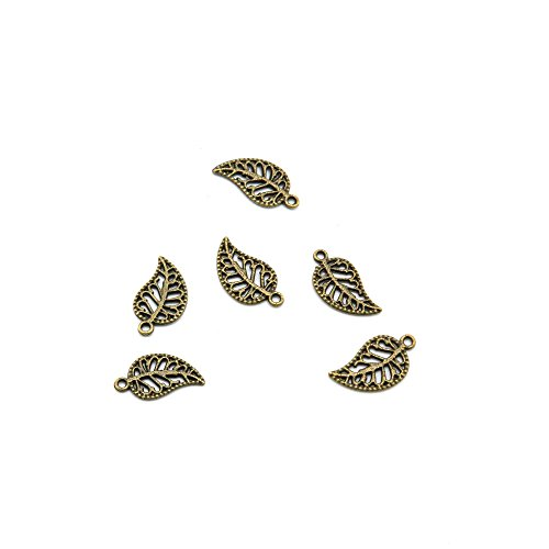 40pcs Jewelry Making Charms Jewellery Charme Antique Bronze Brass Tone Findings Lots Bulk Supply Supplies Repair Vintage Retro JL094 Leaf