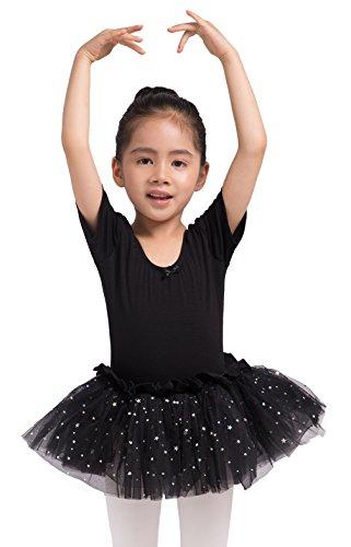 - Dancina Leotard Sparkle Tutu Dress Short Sleeve w/Full Front Lining Ballet Cut Under Shirt 5 Black