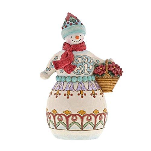 Department56 Enesco Jim Shore Heartwood Creek Wonderland Snowman w Basket w, Multi Color
