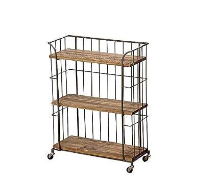 Vintage Industrial estantería de madera carrito de metal retro muebles de almacenamiento ruedas Bebidas carrito grandes