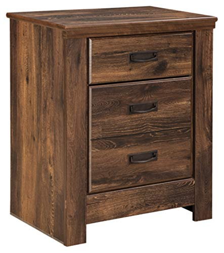 Ashley Furniture Signature Design - Quinden Nightstand with 2 USB Charging Ports - 2 Drawers - Vintage Casual - Dark Brown ()