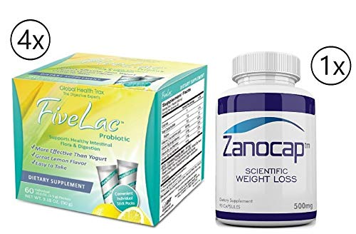 Fivelac Natural Probiotics Candida Solution 4 Packs of 60 Servings with Zanocap Scientific Weight Loss 1 Bottle