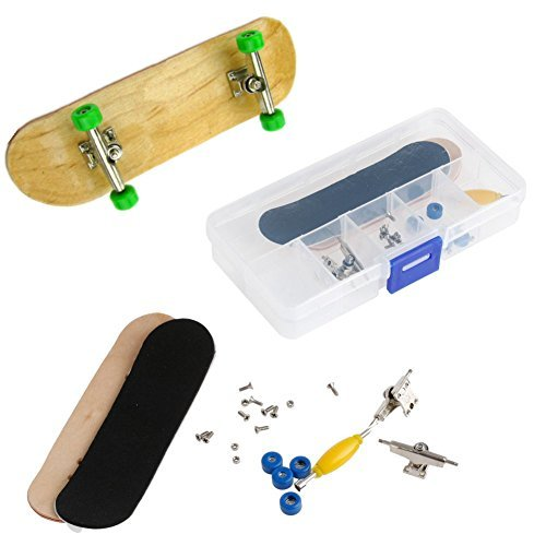 Mini Fingerboard, Professional Finger Skateboard for Tech Deck Maple Wood DIY Assembly Skate Boarding Toy Sports Games Kids (Green) (Wood Green Park)
