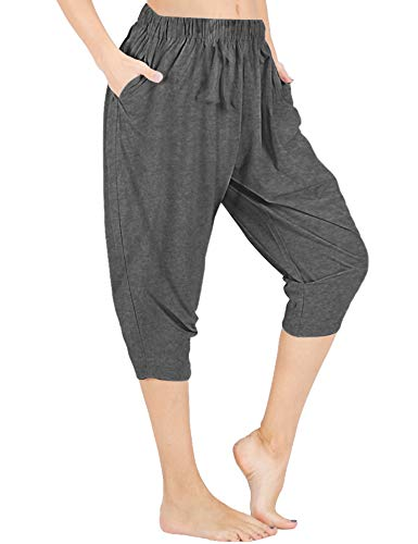 Pants Gray Lounge - WEWINK CUKOO Women Cotton Capri Pajama Pants Cropped Lounge Pants with Pockets Harem Pants (S=US 4-6, Granite Gray)