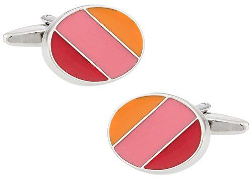 - Cuff-Daddy Stylish Enamel Orange, Pink, Red Oval Cufflinks with Presentation Box